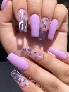 Purple Acrylic Nails, Acrylic Nails Coffin Short, Clear Acrylic Nails, Coffin Acrylics, Pastel Blue Nails, Purple Glitter Nails, Colorful Nails, Gold Glitter, Clear Nail Designs
