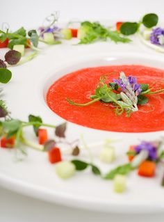 Gazpacho is a really tasty soup. Originating from Andalucía in Spain, this soup is known all over the globe these days. Andalucia gets very hot in the summertime, which is why this chilled soup is so popular. It is just as refreshing as a cold soda, possibly more so.