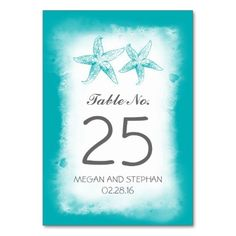 Beach Wedding Blue Table Number Cards Place Cards