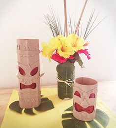 DIY Tiki Luau Centerpiece. See complete instructions at http://sparklerparties.com/blog/diy-tiki-island-centerpiece/