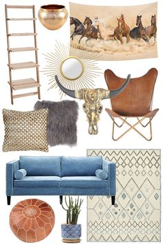 Neutral shades with a pop of blue for color. This boho inspired living room is beautiful. Shop the details in this affiliate link.