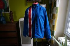 vintage 70s racing jacket red white blue stripe faux fur lined 1970 mod