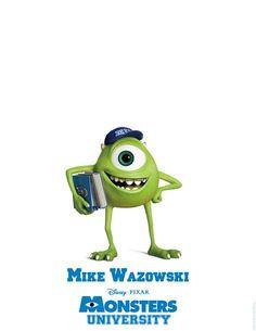Nuevos posters de los personajes de MONSTERS UNIVERSITY    Mike Wazowski!