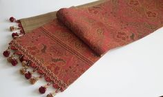 Elegant Floral Tapestry Table Runner, Custom Red, Gold Table Runner - Size 88 in x 14 in by CVDesigns on Etsy