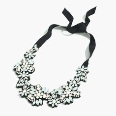 J.Crew Gift Guide: women's fabric-backed crystal cluster necklace.