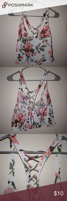 Floral Lace Up Crop Top Floral Crop Top With Lace Up Back Never Worn  No Tears, Stains, or Smells Forever 21 Tops Crop Tops