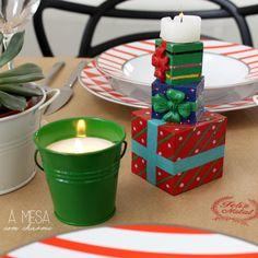 christmas table setting - brown paper