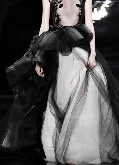 black white wedding gown