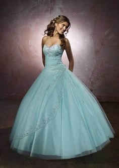 MORI LEE Vizcaya Quinceanera Aqua Blue Tulle And Beaded Sating Sweetheart Ball Gown-Size 0-18 - Unique Vintage - Bridesmaid & Wedding Dresses | http://justladythings.com