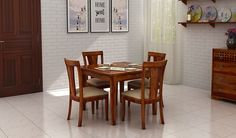 If you are keen to get lovely #dining #room #furniture for your dinner space then you must have a look at the fabulous range of dining furniture online at Wooden Street, like this beautiful model of 4 seater dining table set with additional #storage space to place the small necessities #Mumbai #Pune #Noida
