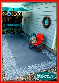 Come  see how I transformed our old dirty worn out patio with some Paint from +Valspar Paint  and a good old stencil.