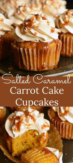 Soft and moist carrot cakes are topped with Caramel Cream Cheese Frosting and topped with caramel drizzle and a sprinkle of salt. Moist Carrot Cakes, Carrot Cake Muffins, Carrot Cake Cupcakes, Best Carrot Cake, Cupcake Cakes, Poke Cakes, Layer Cakes, Best Cupcakes, Carrot Cake Frosting