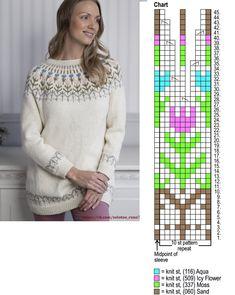 Fair Isle Knitting Patterns, Knitting Designs, Cross Stitch Flowers, Cardigans For Women, Stitch Patterns, Free Pattern, Knit Crochet, Cool Designs, Sewing