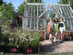 At the end of Day One, Kate, Alison and me with the planted crates, ready to be concealed by woven willow panels.