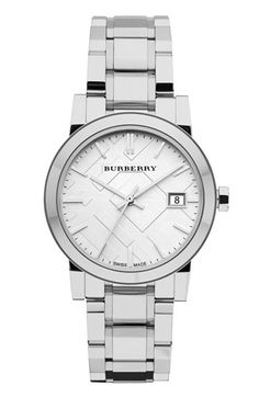 Burberry Timepieces Medium Check Stamped Bracelet Watch available at #Nordstrom