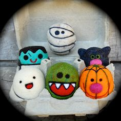 Needle Felted Wool Halloween Toy Set - ghost - pumpkin - monster - MADE TO ORDER by asherjasper on Etsy