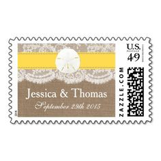 The yellow sand dollar beach wedding collection is a stunning design featuring a lovely rustic burlap effect background with a romantic vintage white lace effect trim finished with a stunning sand dollar and yellow ribbon. These stamps can be personalized for your special occasion and would make the perfect postage for wedding invitations, bridal shower invites, engagement party invites, birthday party announcements and much, much more.  <br> <br>  Please note that Zazzle only sell printed…