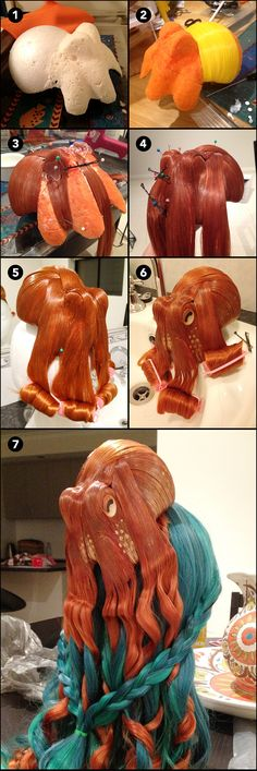 How to make octopus hair. From http://www.crackajack.de/2014/06/04/how-to-make-octopus-hair/