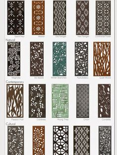 Parasoleil patterns - Patterns in aluminum, copper, and steel using many finishes.