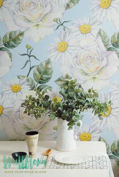 Rose and Daisies Pattern Wallpaper - Rose Wallpaper - Removable Wallpaper - Daisies Wall Sticker - Rose Wall Decal - Rose Self Adhesive