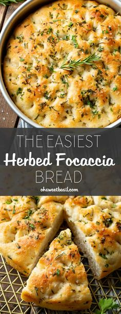 foccacia bread Its just a simple bread, light and airy, a yummy olive oil saltiness and those fresh herbs bring the whole loaf to life. Use it as a side or to build delicious sandwiches! This is our recipe for the Easiest Herbed Focaccia Bread! Easy Bread Recipes, Cooking Recipes, Olive Bread Recipe Easy, Basil Bread Recipe, Basil Recipes, Scd Recipes, Cooking Corn, Herb Recipes, Easy Delicious Recipes