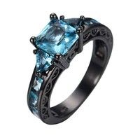♥ Metal:  Black gold Filled ♥ Main Stone: Blue Aquamarine ♥ Main Stone Carats: 5ct  (7*7mm) ♥ Clarit