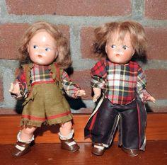 "Two Vintage 1940s Vogue 8"" Compo Toddles Dolls Boy Girl Cowboy Original Clothes #Dolls"