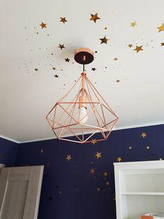 Golden stickers [stars] and blue wall.heaven in children's room. Dark Blue Bedrooms, Dark Blue Walls, Blue Rooms, Star Bedroom, Bedroom Decor, Big Girl Rooms, Boy Room, Kids Room Design, Decoration