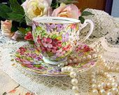 Royal Standard Chintz Tea Cup and Saucer Teacup - 1950s Bone China 8334 $22.95