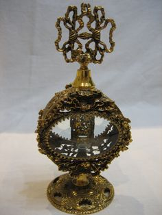 Vintage Signed Stylebuilt Ornate Ormolu Beveled Glass Perfume Bottle by CLASSYBAG on Etsy