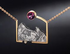 Teton Necklace in Gibeon Meteorite and 18k gold, with a 2.90ct rhodalite garnet and diamonds