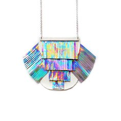 Holographic Fringe Necklace, Metallic Bib Necklace, Geometric Leather Necklace, Rainbow Tassel Modern Necklace, Space Futuristic Necklace