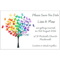 Butterfly Tree Save The Date Magnets