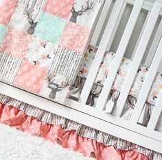 Tulip Stag Woodlands Bedding - Baby Girl Crib Bedding