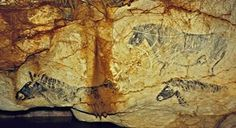 """Cosquer Cave contains several dozen painting and carvings dating back to Upper Paleolithic, matching two different phases of occupation of the cave: Older drawings of hand stencils and other related motifs, dating back to 27,000 BP (Gravettian); and newer drawings of signs and animal drawings dating back to 19,000 BP (Solutrean), representing both """"classical"""" animals such as bisons, ibexes, and horses but also marine animals such as seals and what appear to be auks and jellyfish."""