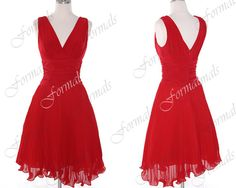 Straps V Neck Knee Length Chiffon Red Cocktail Dresses, Bridesmaid Dresses, Party Dresses,  Short Prom Dresses, Wedding party Dresses