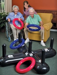 Shop for Jumbo Inflatable Ring Toss at S&S Worldwide. Everyone's a ringer! Everyone's a ringer when playing our jumbo, inflatable, hard-to-miss version of the classic Ring Toss Game! The durable, oversized PVC pieces make success even. Nursing Home Activities, Elderly Activities, Dementia Activities, Senior Activities, Work Activities, Therapy Activities, Spring Activities, Physical Activities, Dementia Crafts