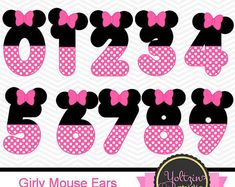 Minnie Mouse clipart numbers Ears Red Black age by YoltzinStudio Minnie Mouse Birthday Decorations, Mickey Mouse Birthday, Minnie Mouse Party, Minnie Mouse Clipart, Theme Mickey, Tsumtsum, Mini Mouse, Balloons, Clip Art