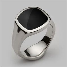 Inlaid Signet Ring Silver & Onyx