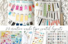 Are you a washi tape collector? Here are 20 different creative washi tape swatch layouts for you to use in your bullet journal! Bullet Journal Quilting, Bullet Journal Washi Tape, Bullet Journal Ideas Pages, Bullet Journal Layout, Bullet Journal Inspiration, Bullet Journals, Journal Ideas Smash Book, Book Journal, Hanging Pictures