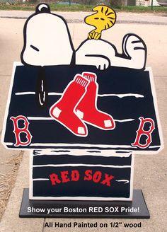 Boston RED SOX Snoopy Peanuts Wood Decor Sign by duranduran2946
