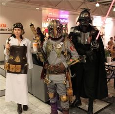 Steampunk Star Wars costumes    Steampunk Darth Vader, Leia, and Boba Fett costumes by Outland Armor. Click through to see Steampunk Aurra Sing, Amidala, and more.