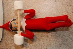 Elf on the Shelf idea: marshmallow dumbbell #elfontheshelf