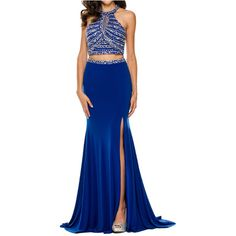 Royal Blue Halter Beaded Bodice Two-Piece ITY Prom Dress (2 colors XS... ❤ liked on Polyvore featuring dresses, blue dress, women dresses, blue prom dresses, halter prom dresses and two piece dresses