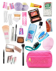 """School emergency kit"" by alexandrabae on Polyvore featuring beauty, Cara, Jane Iredale, Maybelline, Eos, Clinique, Stila, Moschino, Urban Decay and Victoria's Secret PINK"