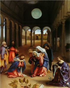 Christ's Farewell to Mary (or Christ Taking Leave of his Mother) - Lorenzo Lotto.  1521.  Oil on canvas.  126 x 99 cm.  Gemaldegalerie, Staatliche Museen zu Berlin, Berlin, Germany.