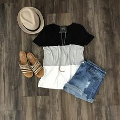 Short Sleeve Color Block Tee w/Stripes | Outfit Ideas Spring Summer 2017 | Stitch Fix Inspiration | What to Wear | Casual Wear |