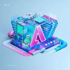 Peter Tarka (@petertarka) - Last project for Adobe #adobe #gov #digital #data #semiflat #flat #design #3d #cgi #c4d #cinema4d