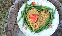 Quinoa, Brown Rice, String Beans and diced Tomatoes