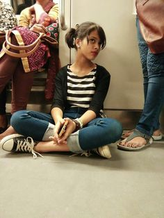 Photo of a girl in Metro fashion street sneakers black and white